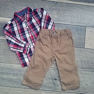 Nautica flannel button up with matching khakis